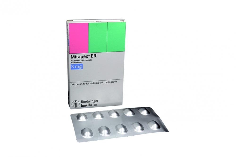 Mirapex ER 3 mg Caja Con 10 Comprimidos  Rx4  Rx1