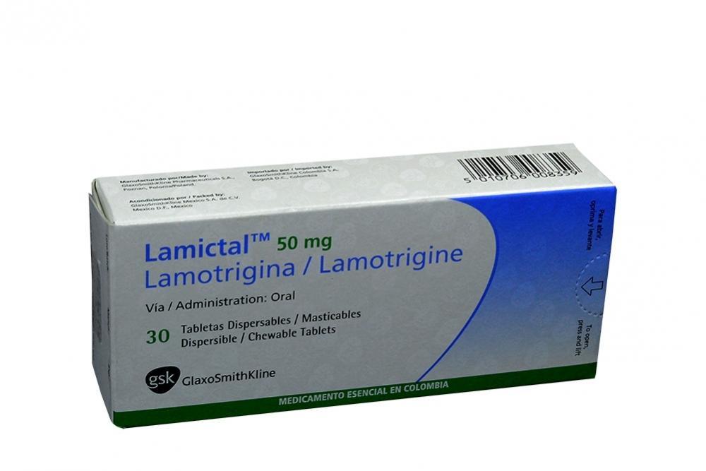 Lamictal 50 mg Caja Con 30 Tabletas Dispersables Masticables Rx4