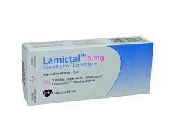 Lamictal 5 mg Caja Con 30 Tabletas Dispersables Masticables Rx4 Rx1