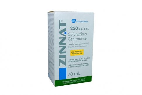 Zinnat Suspensión 250 mg / 5 mL Caja Con Frasco Con 70 mL Rx2