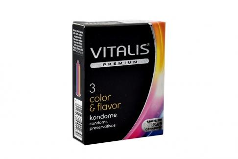 Condones Vitalis Color y Flavor Caja Con 3 Unidades