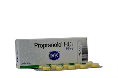 Propranolol HCI 80 mg Caja Con 20 Tabletas Rx