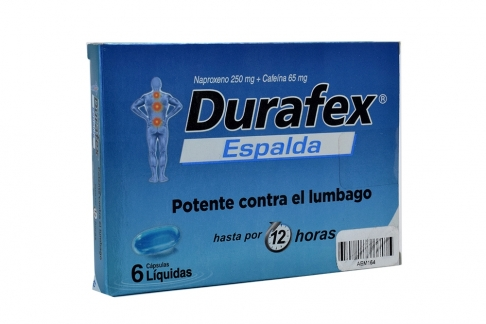 Durafex Espalda 250 / 65 mg Caja x 6 Cápsulas Líquidas