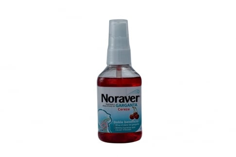 Noraver Garganta Spray Frasco Con 120 mL – Sabor Cereza
