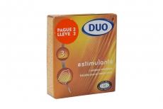 Condones Duo Estimulante Estriados Caja Con 3 Unidades - Pague 2 Lleve 3