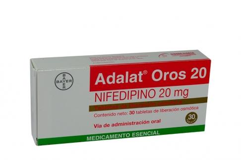 Adalat Oros 20 mg Caja x 30 Tabletas De Liberación Osmótica Rx