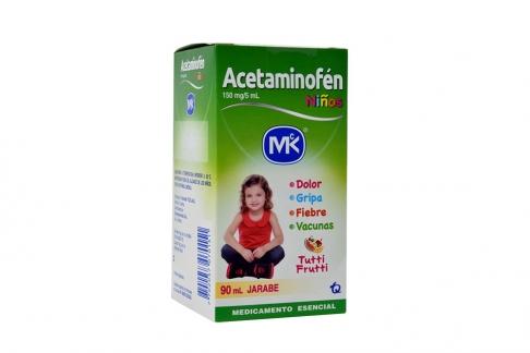 Acetaminofén Jarabe 150 mg / 5 mL Caja Con Frasco Con 90 mL – Sabor Tutti Frutti