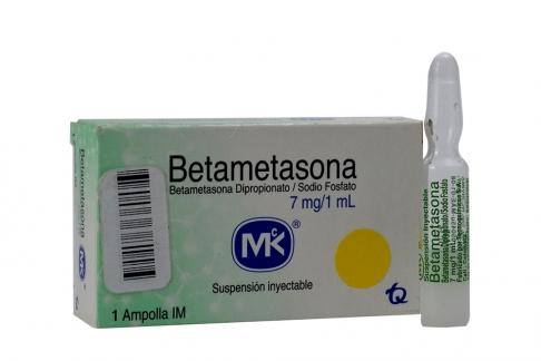 Betametasona MK 7 mg/mL Suspensión Inyectable Caja Con 1 Ampolla Rx