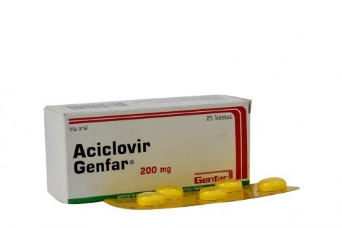 Aciclovir Genfar 200 mg Caja Con 25 Tabletas Rx