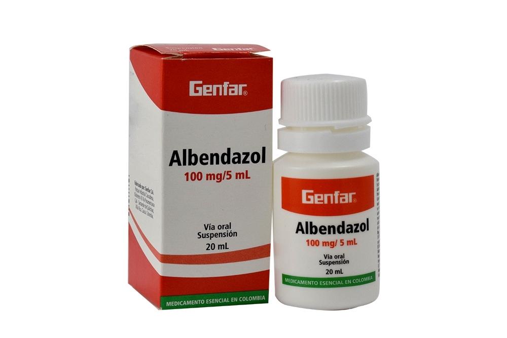 Albendazol 100 mg / 5 mL Suspensión Caja Con Frasco Con 20 mL Rx