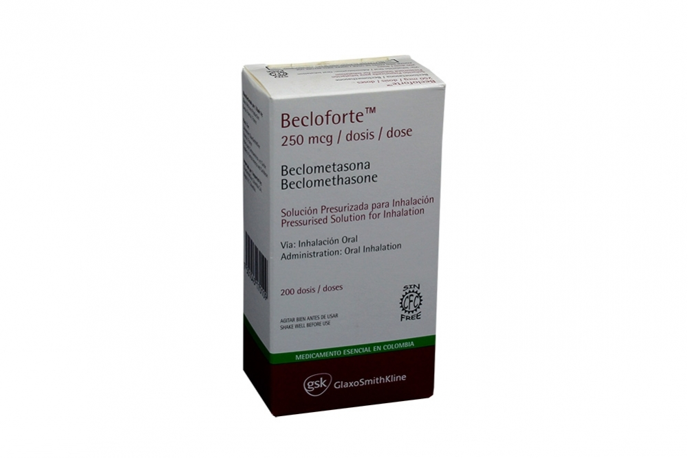Becloforte Solución Para Inhalación 250 mcg Caja Con Cartucho Con 200 Dosis Rx