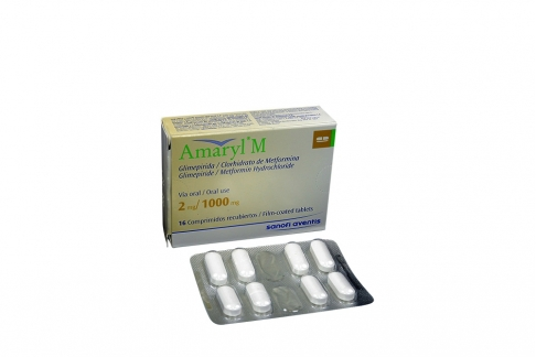 Amaryl M 2 / 1000 mg Caja Con 16 Comprimidos Recubiertos Rx4