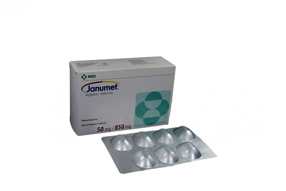 Janumet 50 / 850 mg Caja Con 28 Tabletas Recubiertas Rx4 Rx1