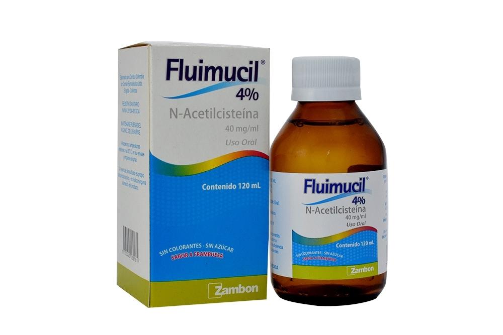 Fluimucil Jarabe 4% 40 mg / mL Caja Con Frasco Con 120 mL Sabor Frambuesa  Rx