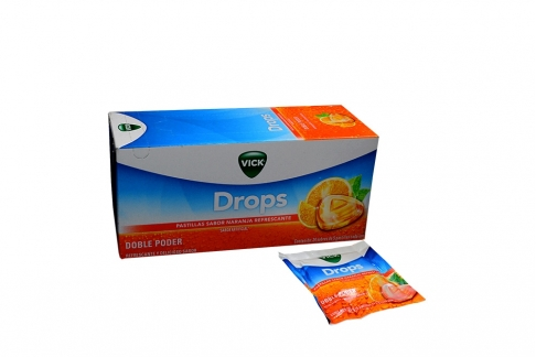Vick Drops Pastillas Refrescantes Caja Con 24 Sobres Con 5 Pastillas C/U – Sabor Naranja