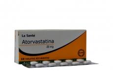 Atorvastatina 20 mg Caja Con 10 Tabletas Recubiertas Rx.
