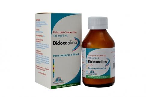 Dicloxacilina 125 mg / 5 mL 2.5 % Caja Con Frasco Con 80 mL Rx2