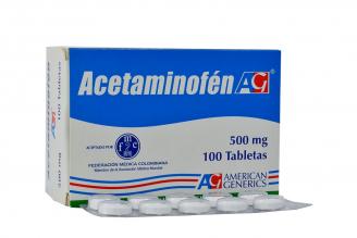 Acetaminofen 500 mg American Generics Caja Con 100 Tabletas