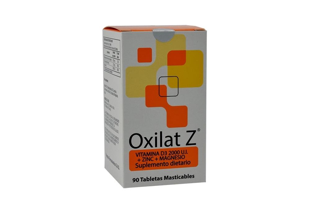 Oxilat Z 2000 U.I + Zinc + Magnesio Caja Con Frasco Con 90 Tabletas Masticables