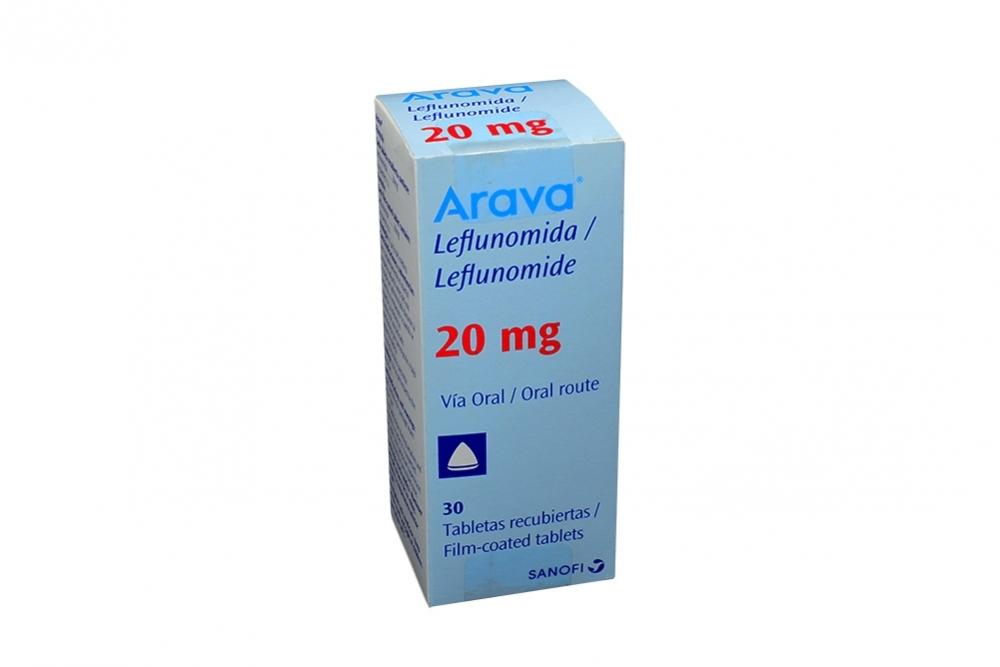 Arava 20 mg Caja Con 30 Tabletas Recubiertas Rx1 Rx4