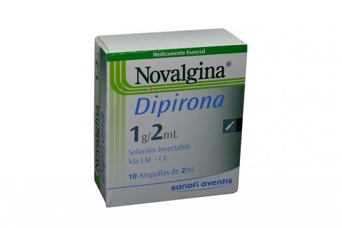 Novalgina Solución Inyectable Caja Con 10 Ampollas De 2 mL C/U Rx