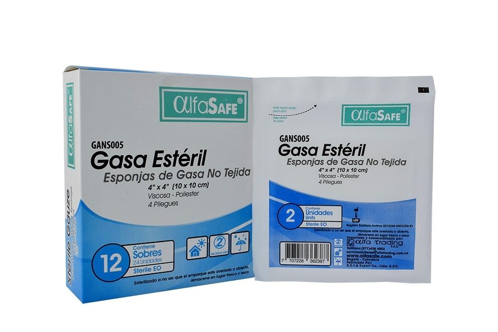 Esponjas De Gasa No Tejida Alfa Safe 10 cm x 10 cm Caja Con 24 Unidades