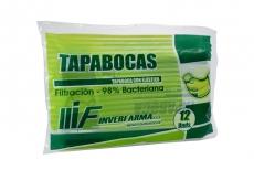 Tapabocas Con Elástico Bolsa x 12 Unidades