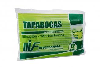 Tapabocas Con Elástico Inverfarma Bolsa Con 12 Unidades