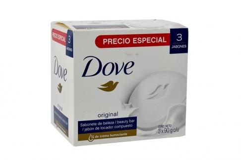 Jabón Dove Original ¼ Crema Humectante Caja Con 3 Barras Con 90 g C/U