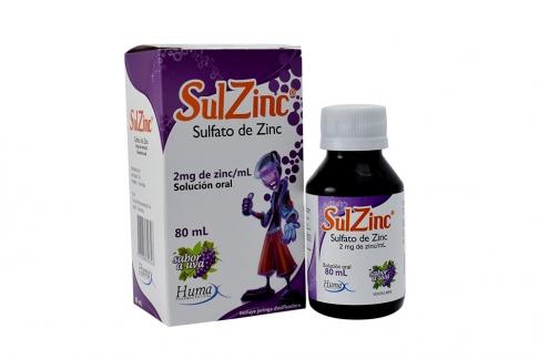 Sulzinc Solución Oral Caja Con Frasco Con 80 mL - Sabor Uva