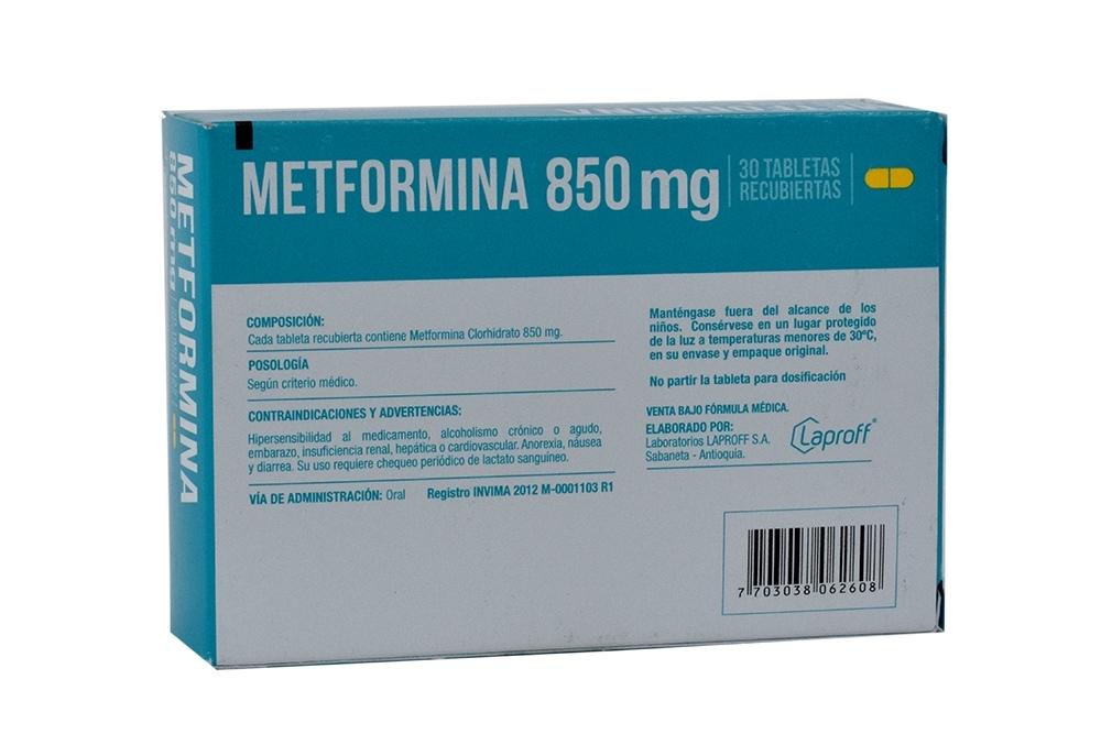 Comprar Metformina 850 mg Laproff 30 Tabletas Farmalisto Colombia