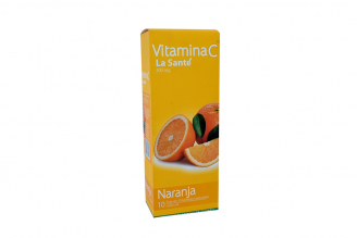 Vitamina C 500 mg Caja Con 10 Tiras De Tabletas Masticables C/U - Sabor Naranja