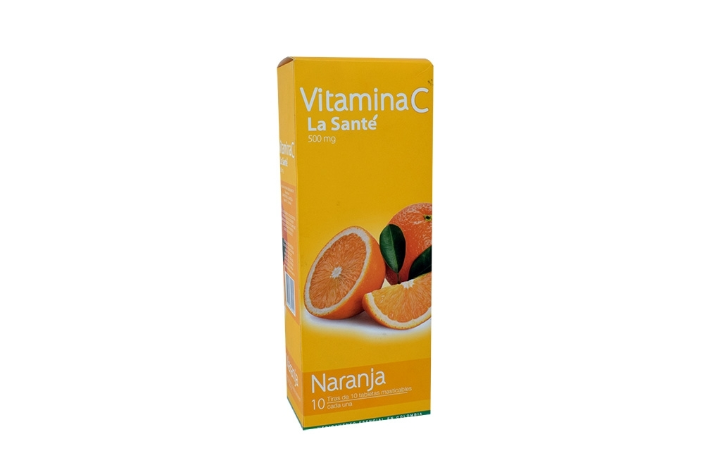 Vitamina C 500 mg Caja Con 10 Tiras Con 10 Tabletas Masticables C/ U – Sabor Naranja