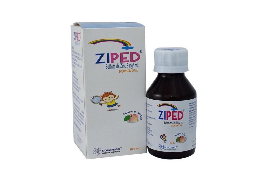 Ziped Solución Oral Caja Con Frasco Con 90 mL - Sabor Durazno