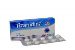 Tizanidina 4 Mg Caja X 20 Tabletas Rx