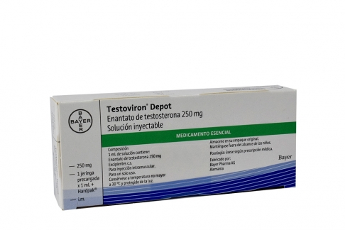 Testoviron Depot 250 mg Caja Con 1 Jeringa Precargada Con 1 mL + Hardpak Rx