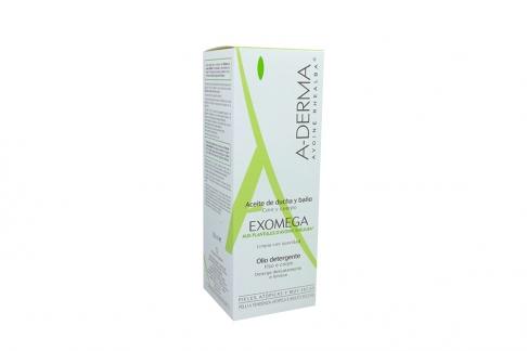 A Derma Exomega Aceite De Ducha y Baño Caja Con Frasco Con 200 mL