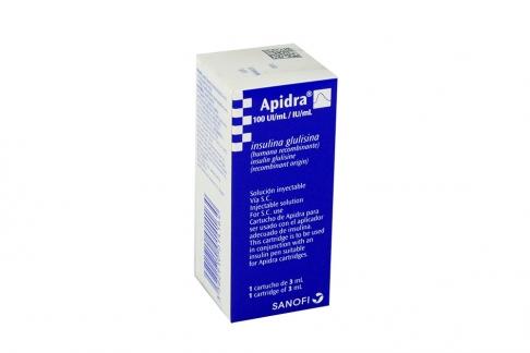 Apidra 100 UI mL / IU mL Caja Con 1 Cartucho Con 3 mL Rx3 Rx1