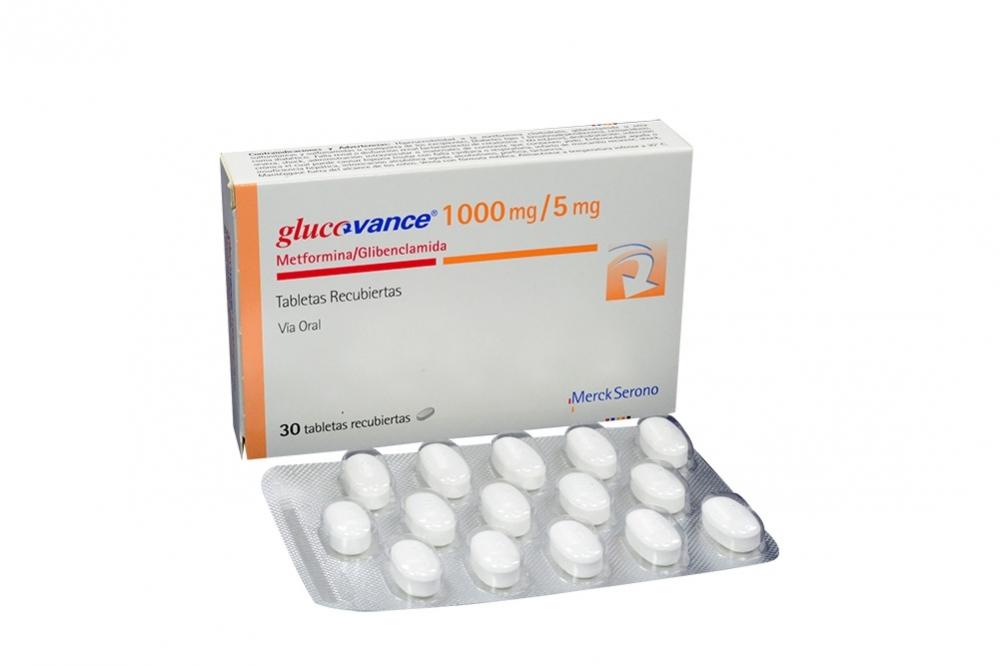 Glucovance 1000 / 5 mg Caja Con 30 Tabletas Recubiertas Rx4