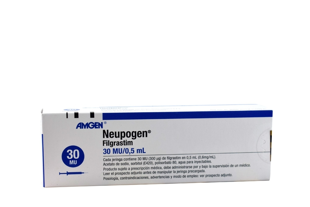 Neupogen Solución Inyectable 30 MU / 0.5 mL Caja Con 1 Jeringa Precargada Rx3